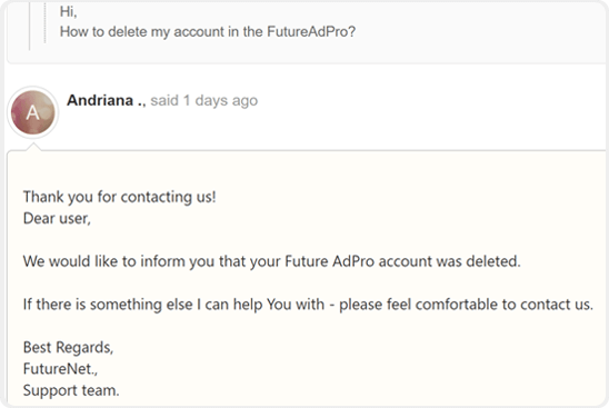 FutureAdPro jak usunąć konto